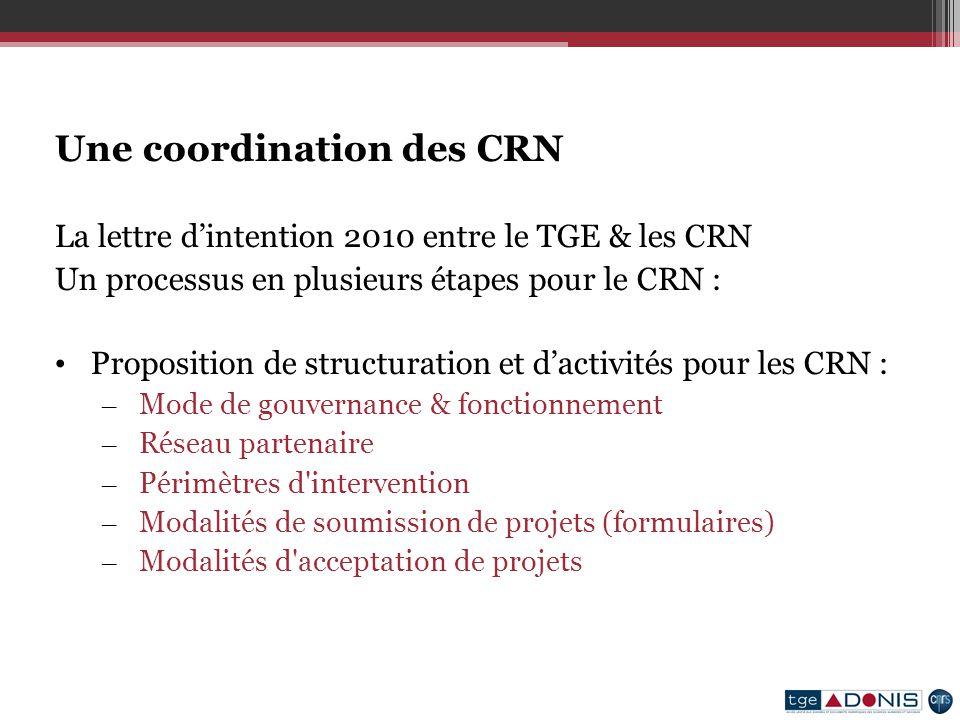 Une coordination des CRN La lettre dintention 2010 entre le TGE & les CRN Un processus en plusieurs étapes pour le CRN : Proposition de structuration et dactivités pour les CRN : – Mode de gouvernance & fonctionnement – Réseau partenaire – Périmètres d intervention – Modalités de soumission de projets (formulaires) – Modalités d acceptation de projets