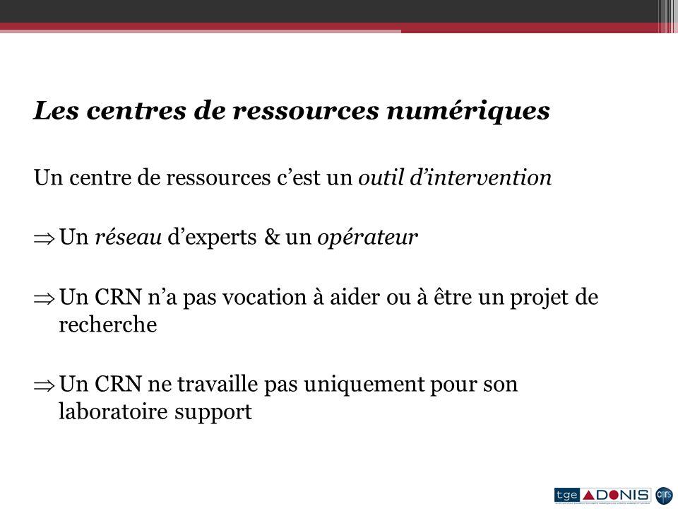 Les centres de ressources numériques Un centre de ressources cest un outil dintervention Un réseau dexperts & un opérateur Un CRN na pas vocation à aider ou à être un projet de recherche Un CRN ne travaille pas uniquement pour son laboratoire support