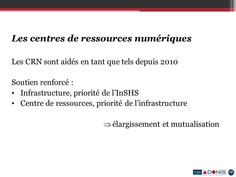 Les centres de ressources numériques Les CRN sont aidés en tant que tels depuis 2010 Soutien renforcé : Infrastructure, priorité de lInSHS Centre de ressources, priorité de linfrastructure élargissement et mutualisation