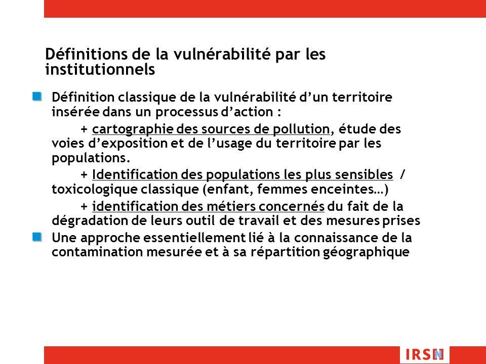 Définitions de la vulnérabilité par les institutionnels Définition classique de la vulnérabilité dun territoire insérée dans un processus daction : + cartographie des sources de pollution, étude des voies dexposition et de lusage du territoire par les populations.