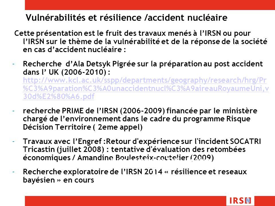 Vulnérabilités et résilience /accident nucléaire Cette présentation est le fruit des travaux menés à lIRSN ou pour lIRSN sur le thème de la vulnérabilité et de la réponse de la société en cas daccident nucléaire : -Recherche dAla Detsyk Pigrée sur la préparation au post accident dans l UK (2006-2010) : http://www.kcl.ac.uk/sspp/departments/geography/research/hrg/Pr %C3%A9paration%C3%A0unaccidentnucl%C3%A9aireauRoyaumeUni,v 30d%E2%80%A6.pdf http://www.kcl.ac.uk/sspp/departments/geography/research/hrg/Pr %C3%A9paration%C3%A0unaccidentnucl%C3%A9aireauRoyaumeUni,v 30d%E2%80%A6.pdf -recherche PRIME de lIRSN (2006-2009) financée par le ministère chargé de lenvironnement dans le cadre du programme Risque Décision Territoire ( 2eme appel) -Travaux avec lEngref :Retour d expérience sur l incident SOCATRI Tricastin (juillet 2008) : tentative d évaluation des retombées économiques / Amandine Boulesteix-coutelier (2009) -Recherche exploratoire de lIRSN 2014 « résilience et reseaux bayésien » en cours Lyon seminaire ENS Janvier 2014