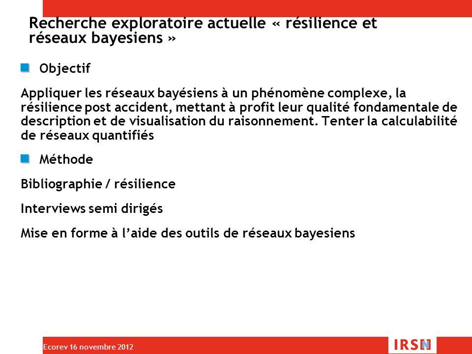 Recherche exploratoire actuelle « résilience et réseaux bayesiens » Objectif Appliquer les réseaux bayésiens à un phénomène complexe, la résilience post accident, mettant à profit leur qualité fondamentale de description et de visualisation du raisonnement.