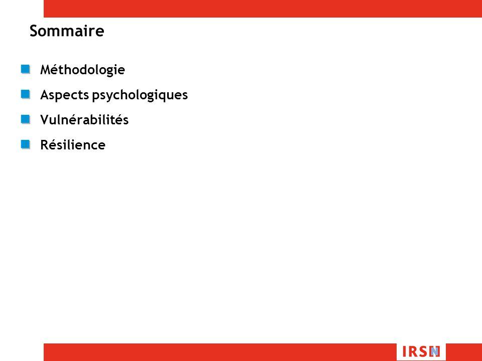 Sommaire Méthodologie Aspects psychologiques Vulnérabilités Résilience