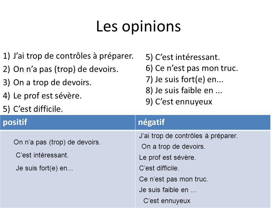 Les opinions 1)Jai trop de contrôles à préparer. 2)On na pas (trop) de devoirs. 3)On a trop de devoirs. 4)Le prof est sévère. 5)Cest difficile. 5) Ces