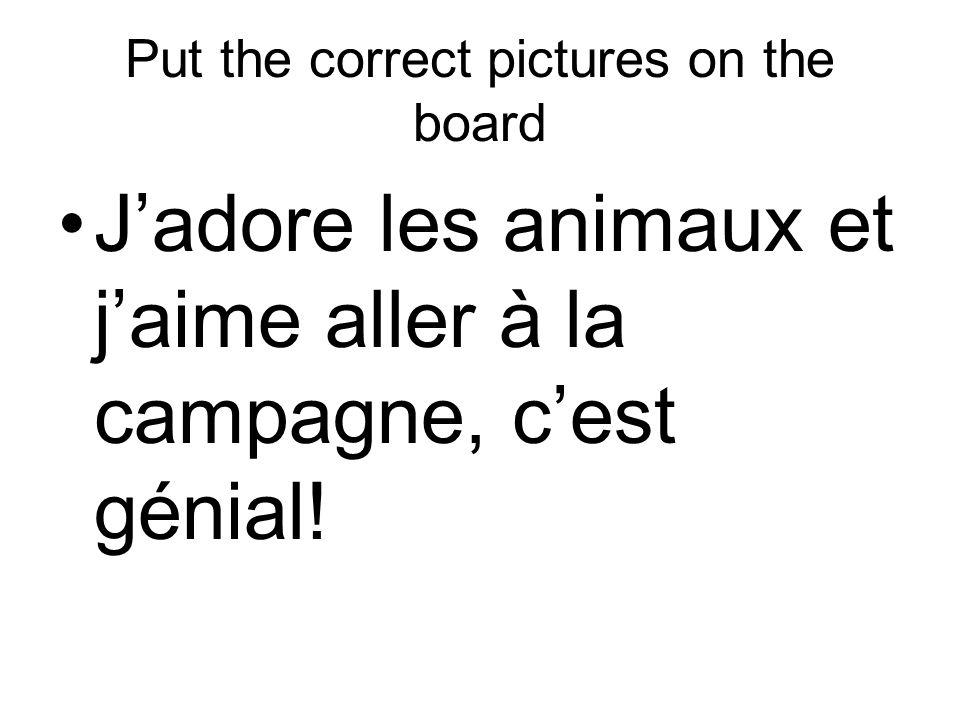 Put the correct pictures on the board Jadore les animaux et jaime aller à la campagne, cest génial!