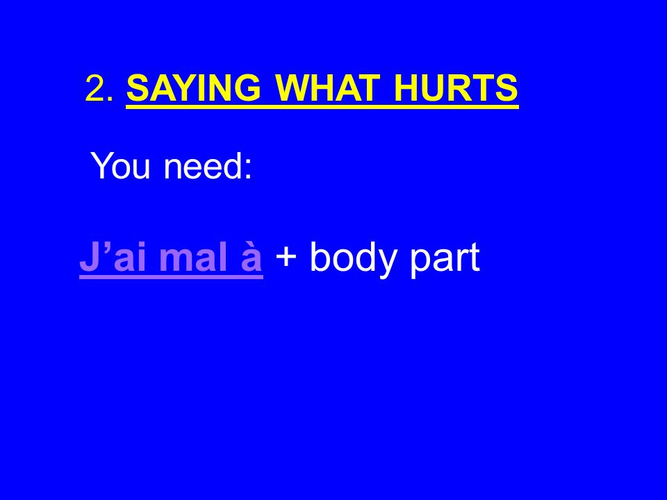 2. SAYING WHAT HURTS You need: Jai mal à + body part