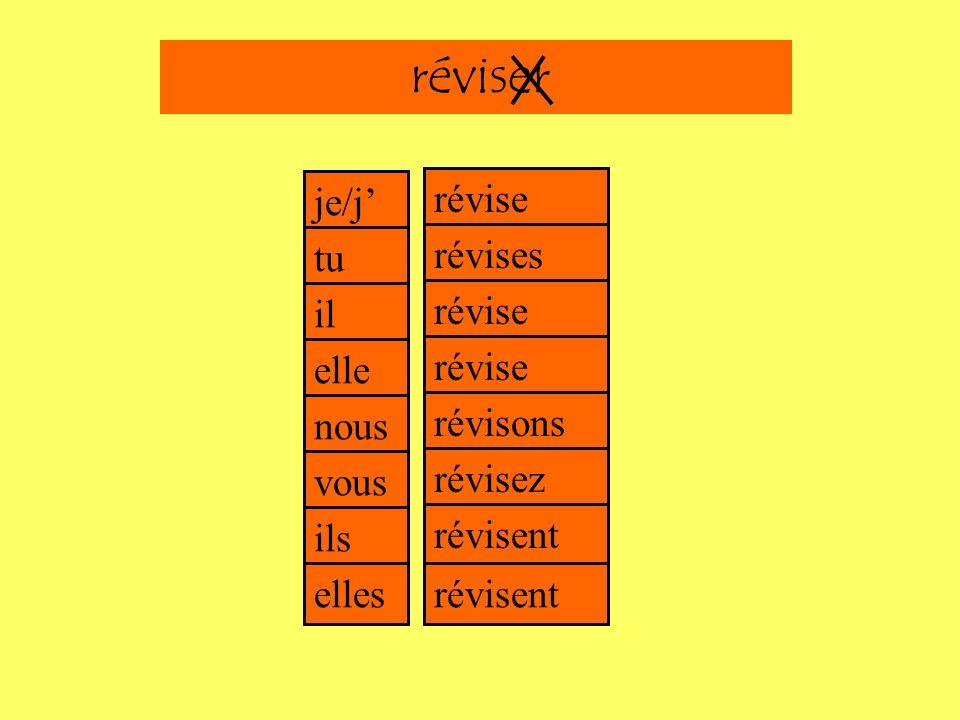 e es e e je/j tu il elle nous vous ils elles ons ez ent Un exempleréviser = to reviseréviser = linfinitif du verberéviser révise révises révise révise révisons révisez révisent révisent