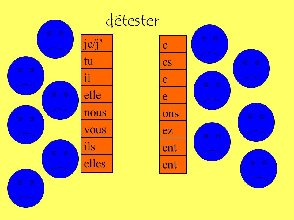 Complète les phrases 1.J__________ les maths 2. Il __________ les sciences 3.