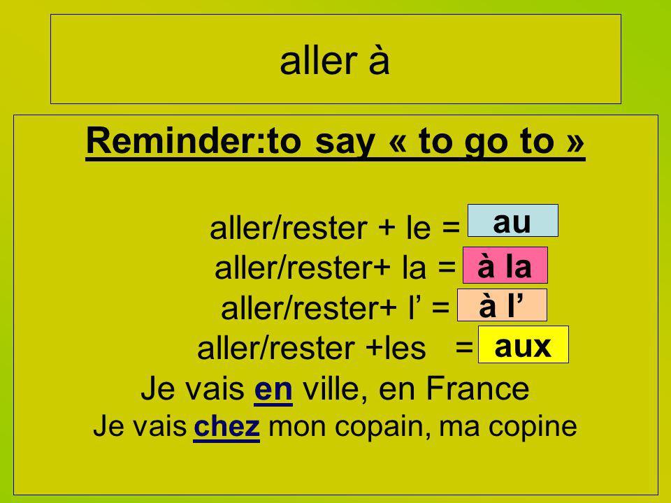 aller à Reminder:to say « to go to » aller/rester + le = aller/rester+ la = aller/rester+ l = aller/rester +les = Je vais en ville, en France Je vais