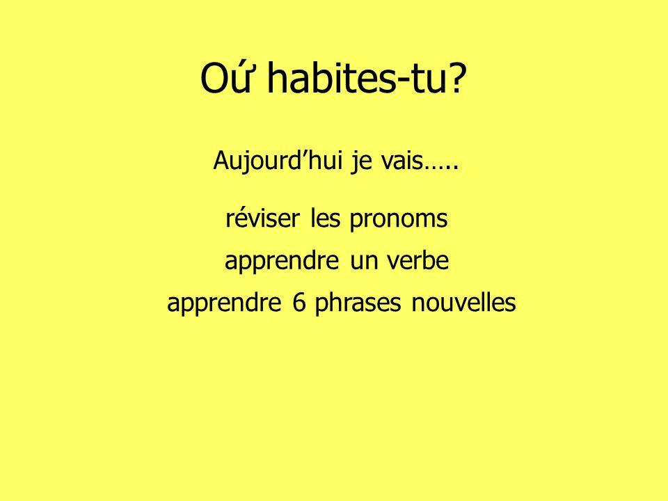 O habites-tu? Aujourdhui je vais….. réviser les pronoms apprendre un verbe apprendre 6 phrases nouvelles