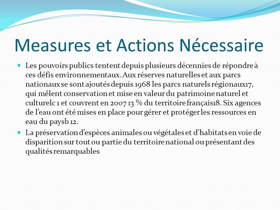Measures et Actions Nécessaire Les pouvoirs publics tentent depuis plusieurs décennies de répondre à ces défis environnementaux.
