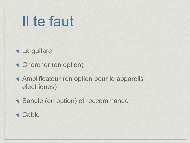 Il te faut La guitare Chercher (en option) Amplificateur (en option pour le appareils electriques) Sangle (en option) et reccommande Cable