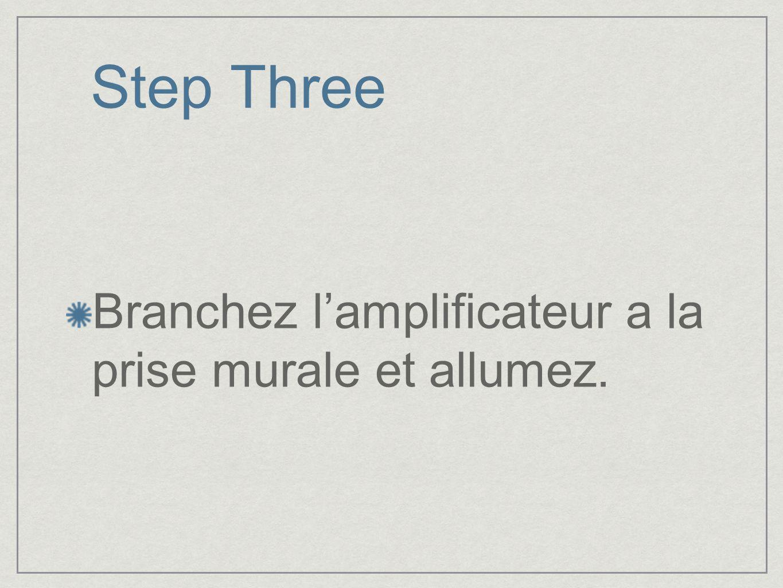 Step Three Branchez lamplificateur a la prise murale et allumez.