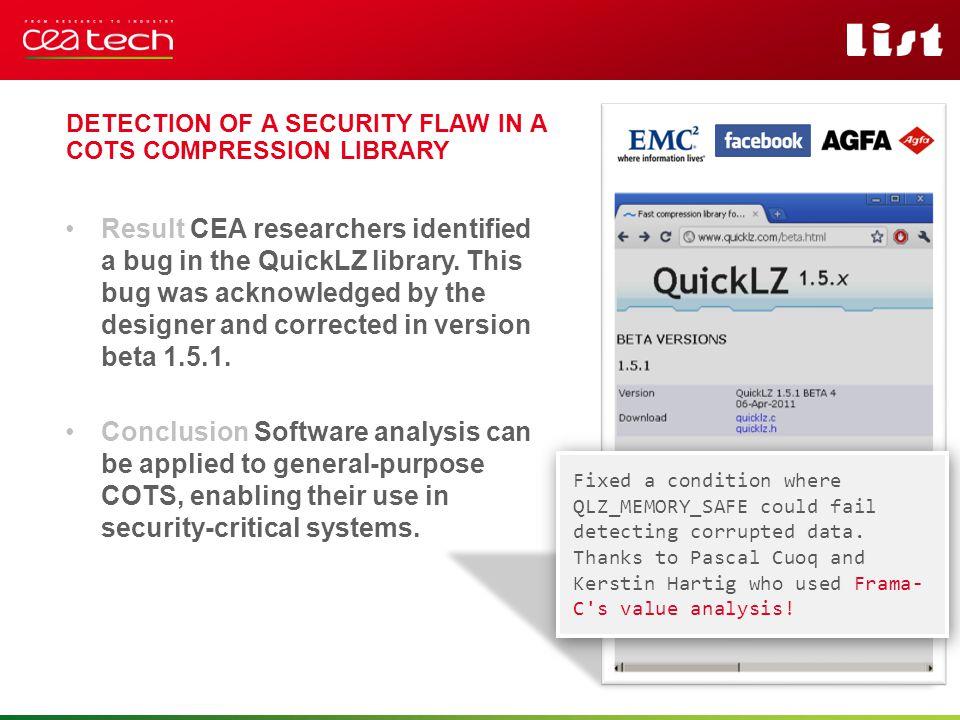 Pour personnaliser « nom événement et auteur » : « Insertion / En-tête et pied de page » Personnaliser la zone de de pied de page Cliquer sur appliquer partout Result CEA researchers identified a bug in the QuickLZ library.