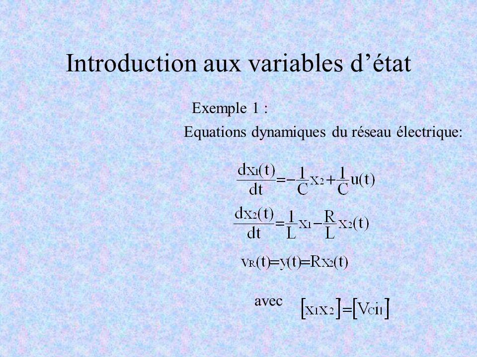 Introduction aux variables détat Exemple 1 : Equations dynamiques du réseau électrique: avec