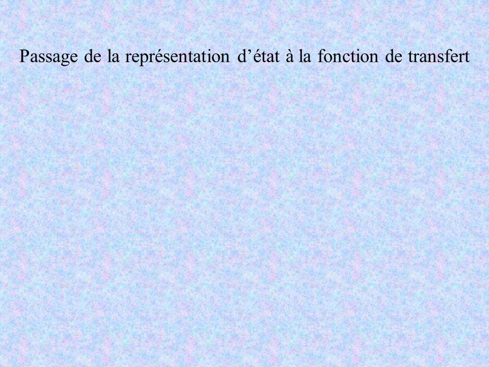 Passage de la représentation détat à la fonction de transfert