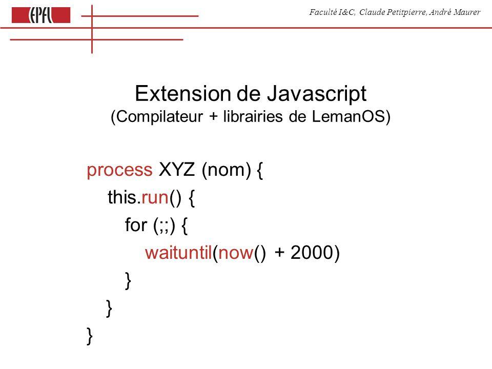 Faculté I&C, Claude Petitpierre, André Maurer Extension de Javascript (Compilateur + librairies de LemanOS) process XYZ (nom) { this.run() { for (;;)
