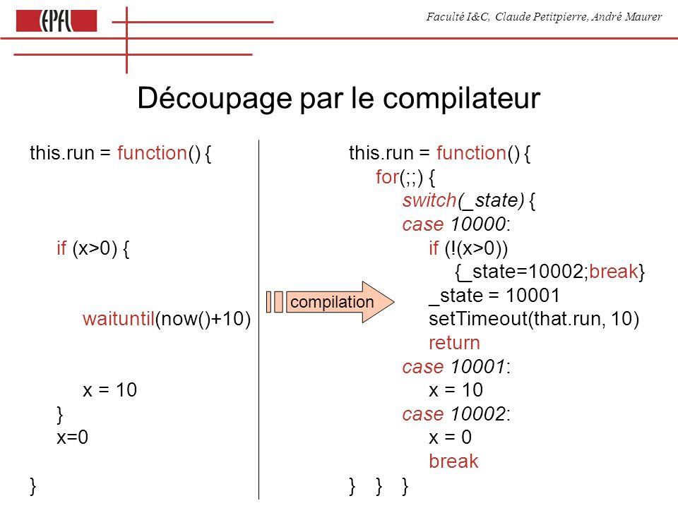 Faculté I&C, Claude Petitpierre, André Maurer Découpage par le compilateur this.run = function() { for(;;) { switch(_state) { case 10000: if (x>0) { i