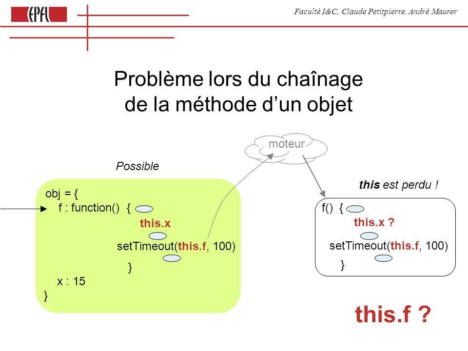Faculté I&C, Claude Petitpierre, André Maurer this.f ? Problème lors du chaînage de la méthode dun objet obj = { f : function() { } x : 15 } setTimeou