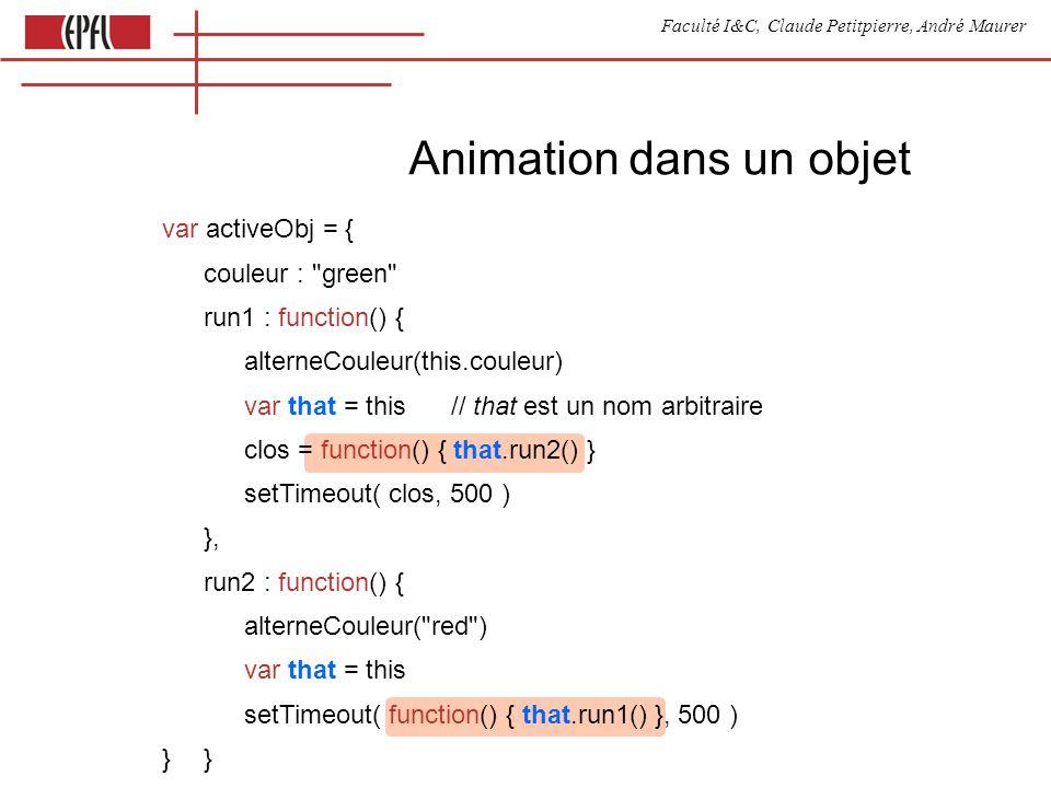 Faculté I&C, Claude Petitpierre, André Maurer Animation dans un objet var activeObj = { couleur :