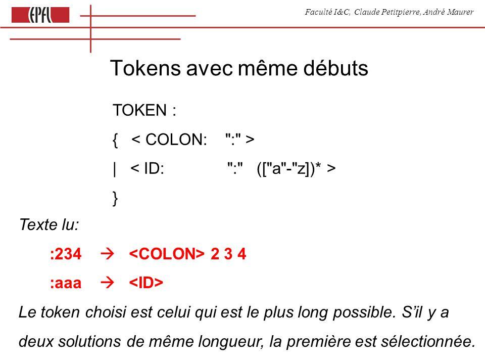 Faculté I&C, Claude Petitpierre, André Maurer Tokens avec même débuts TOKEN : { | } Texte lu: :234 2 3 4 :aaa Le token choisi est celui qui est le plus long possible.