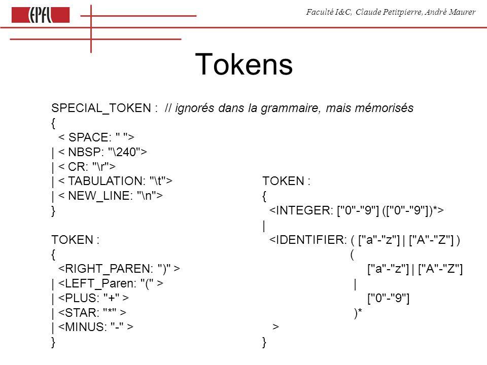 Faculté I&C, Claude Petitpierre, André Maurer Tokens SPECIAL_TOKEN : // ignorés dans la grammaire, mais mémorisés { | | | | } TOKEN : { | | | | } TOKEN : { | <IDENTIFIER: ( [ a - z ] | [ A - Z ] ) ( [ a - z ] | [ A - Z ] | [ 0 - 9 ] )* > }