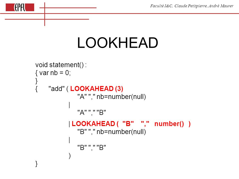 Faculté I&C, Claude Petitpierre, André Maurer LOOKHEAD void statement() : { var nb = 0; } { add ( LOOKAHEAD (3) A , nb=number(null) | A , B | LOOKAHEAD ( B , number() ) B , nb=number(null) | B , B ) }