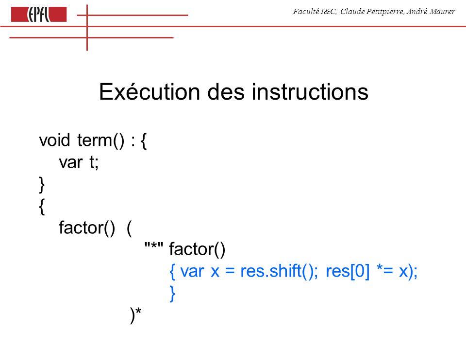 Faculté I&C, Claude Petitpierre, André Maurer Génération dun programme exécutable après compilation void factor() : { var myToken; } { ( {program.print( res.unshift(parseInt( +token.image+ ))\n );} | myToken = { program.print( var x = gEById( +myToken.image+ ).value\n ); program.print( res.unshift(parseInt(x))\n ); keepVarName(myToken.image); } | ( expr() ) ) } automatique