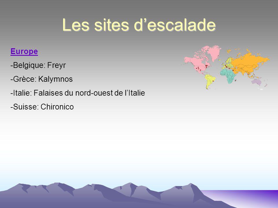 Les sites descalade Afrique -Madagascar: La région de Tsarano Amérique du Nord -Canada: Chute Montmorency -Etats-Unis: Colorado -Etats-Unis: Wyoming A