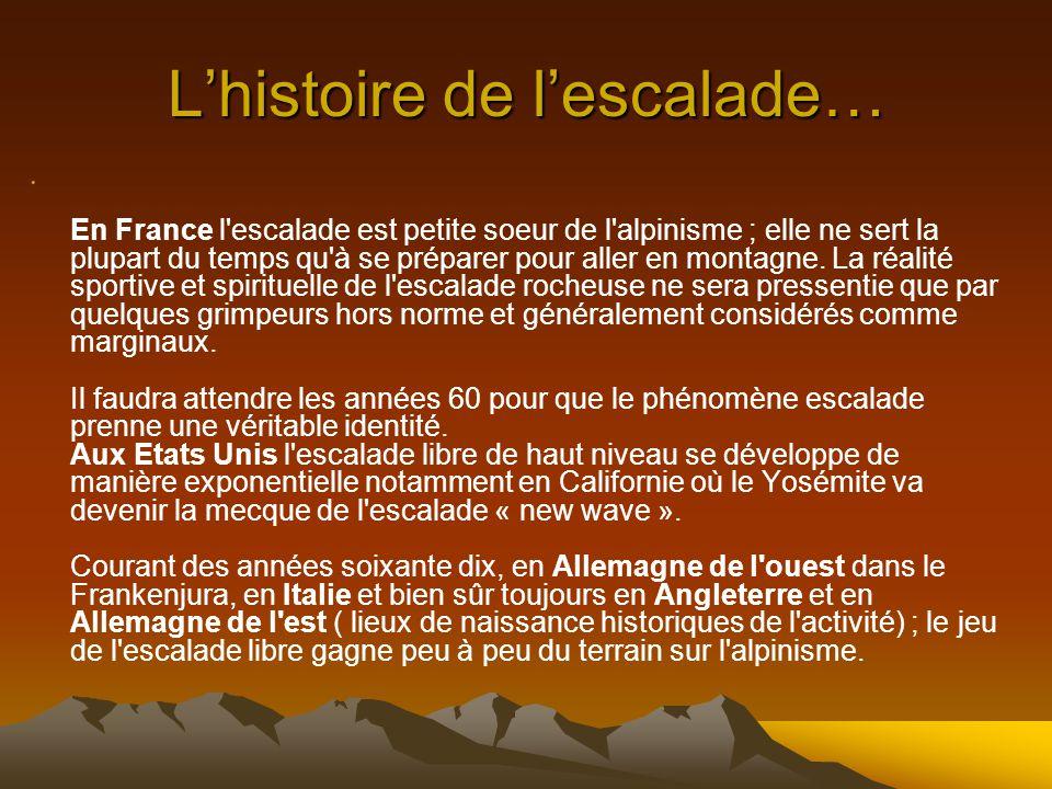 Lhistoire de lescalade… En France l escalade est petite soeur de l alpinisme ; elle ne sert la plupart du temps qu à se préparer pour aller en montagne.