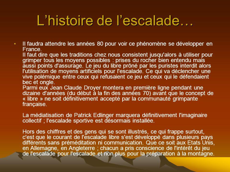 Lhistoire de lescalade… En France l'escalade est petite soeur de l'alpinisme ; elle ne sert la plupart du temps qu'à se préparer pour aller en montagn
