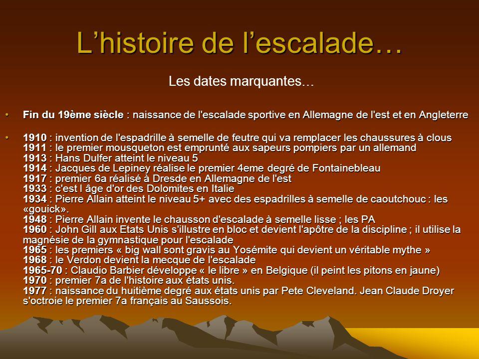 Lhistoire de lescalade… Il faudra attendre les années 80 pour voir ce phénomène se développer en France. Il faut dire que les traditions chez nous con
