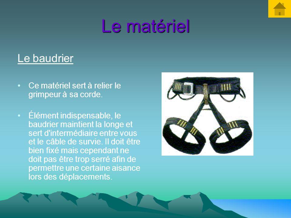 Le matériel Le baudrier Ce matériel sert à relier le grimpeur à sa corde.