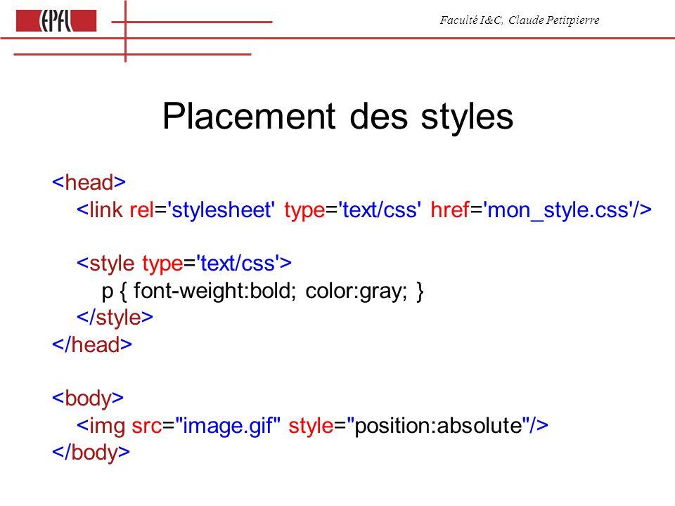 Faculté I&C, Claude Petitpierre Placement des styles p { font-weight:bold; color:gray; }