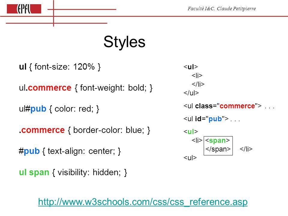 Faculté I&C, Claude Petitpierre Styles ul { font-size: 120% } ul.commerce { font-weight: bold; } ul#pub { color: red; }.commerce { border-color: blue; } #pub { text-align: center; } ul span { visibility: hidden; } http://www.w3schools.com/css/css_reference.asp...