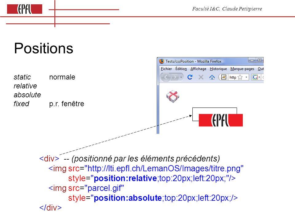 Faculté I&C, Claude Petitpierre Positions -- (positionné par les éléments précédents) <img src= http://lti.epfl.ch/LemanOS/Images/titre.png style= position:relative;top:20px;left:20px; /> <img src= parcel.gif style= position:absolute;top:20px;left:20px;/> static normale relative absolute fixed p.r.
