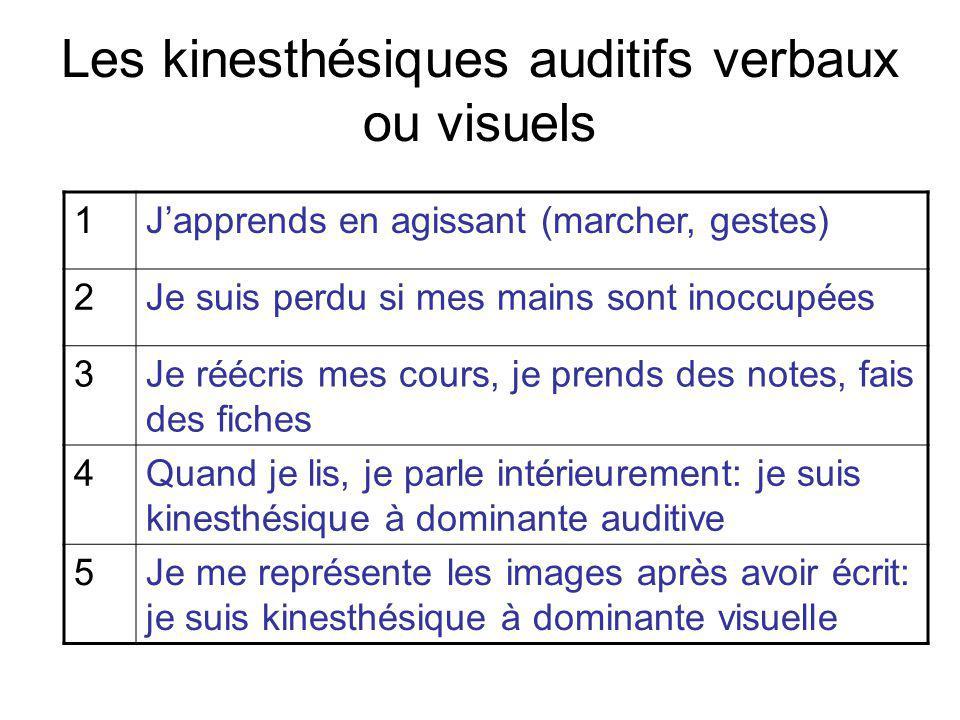 Les kinesthésiques auditifs verbaux ou visuels 1Japprends en agissant (marcher, gestes) 2Je suis perdu si mes mains sont inoccupées 3Je réécris mes cours, je prends des notes, fais des fiches 4Quand je lis, je parle intérieurement: je suis kinesthésique à dominante auditive 5Je me représente les images après avoir écrit: je suis kinesthésique à dominante visuelle