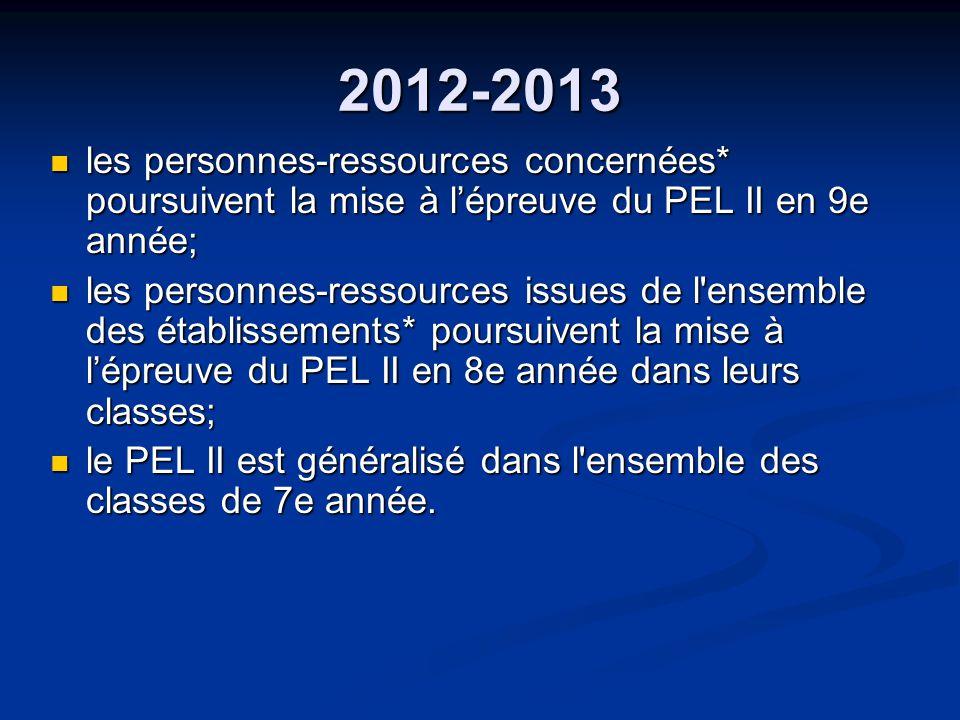 2012-2013 les personnes-ressources concernées* poursuivent la mise à lépreuve du PEL II en 9e année; les personnes-ressources concernées* poursuivent la mise à lépreuve du PEL II en 9e année; les personnes-ressources issues de l ensemble des établissements* poursuivent la mise à lépreuve du PEL II en 8e année dans leurs classes; les personnes-ressources issues de l ensemble des établissements* poursuivent la mise à lépreuve du PEL II en 8e année dans leurs classes; le PEL II est généralisé dans l ensemble des classes de 7e année.