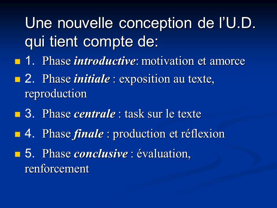 Une nouvelle conception de lU.D. qui tient compte de: Phase introductive: motivation et amorce 1.