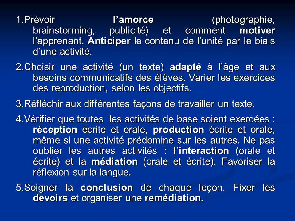 1.Prévoir lamorce (photographie, brainstorming, publicité) et comment motiver lapprenant.