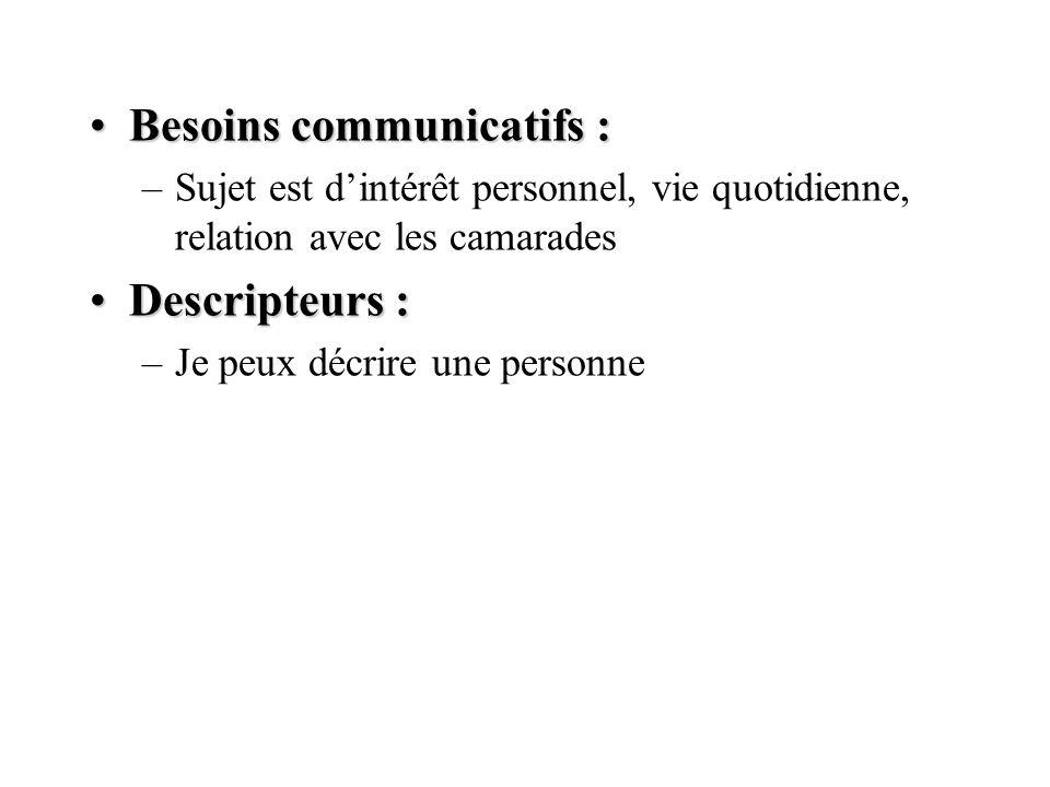 Besoins communicatifs :Besoins communicatifs : –Sujet est dintérêt personnel, vie quotidienne, relation avec les camarades Descripteurs :Descripteurs