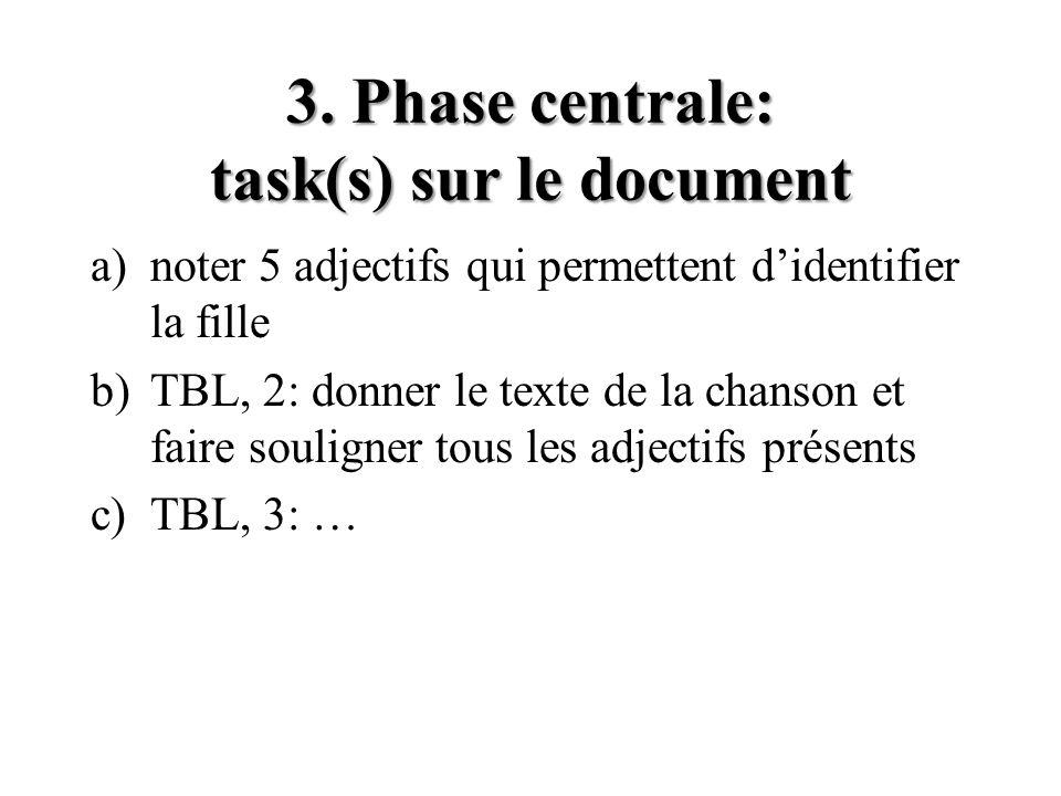3. Phase centrale: task(s) sur le document a)noter 5 adjectifs qui permettent didentifier la fille b)TBL, 2: donner le texte de la chanson et faire so