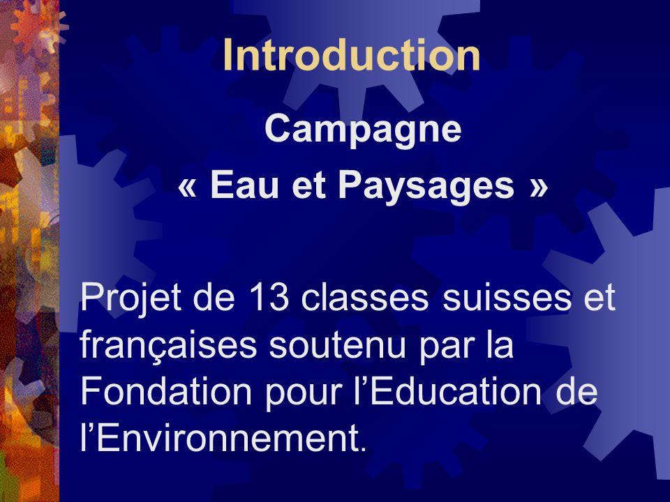 Introduction Campagne « Eau et Paysages » Projet de 13 classes suisses et françaises soutenu par la Fondation pour lEducation de lEnvironnement.