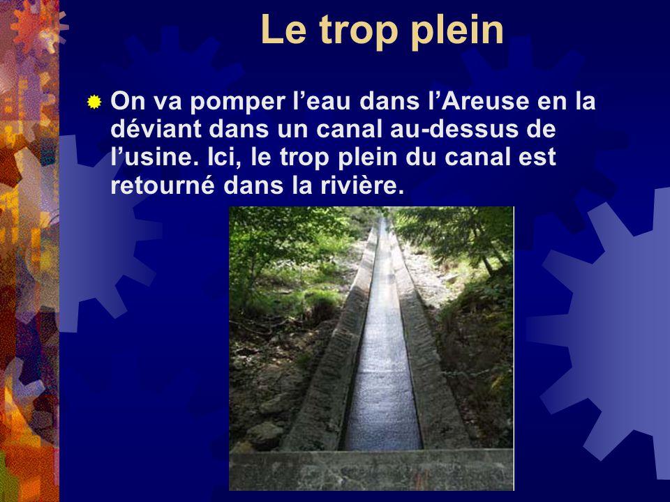 Le trop plein On va pomper leau dans lAreuse en la déviant dans un canal au-dessus de lusine.