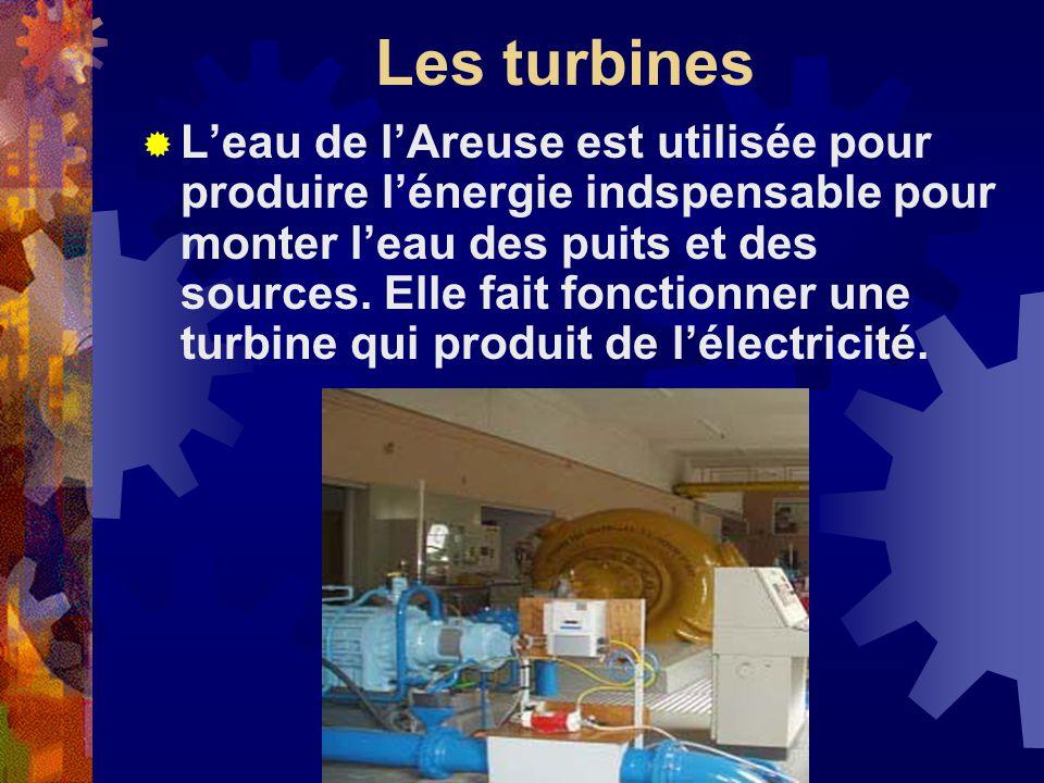 Les turbines Leau de lAreuse est utilisée pour produire lénergie indspensable pour monter leau des puits et des sources.