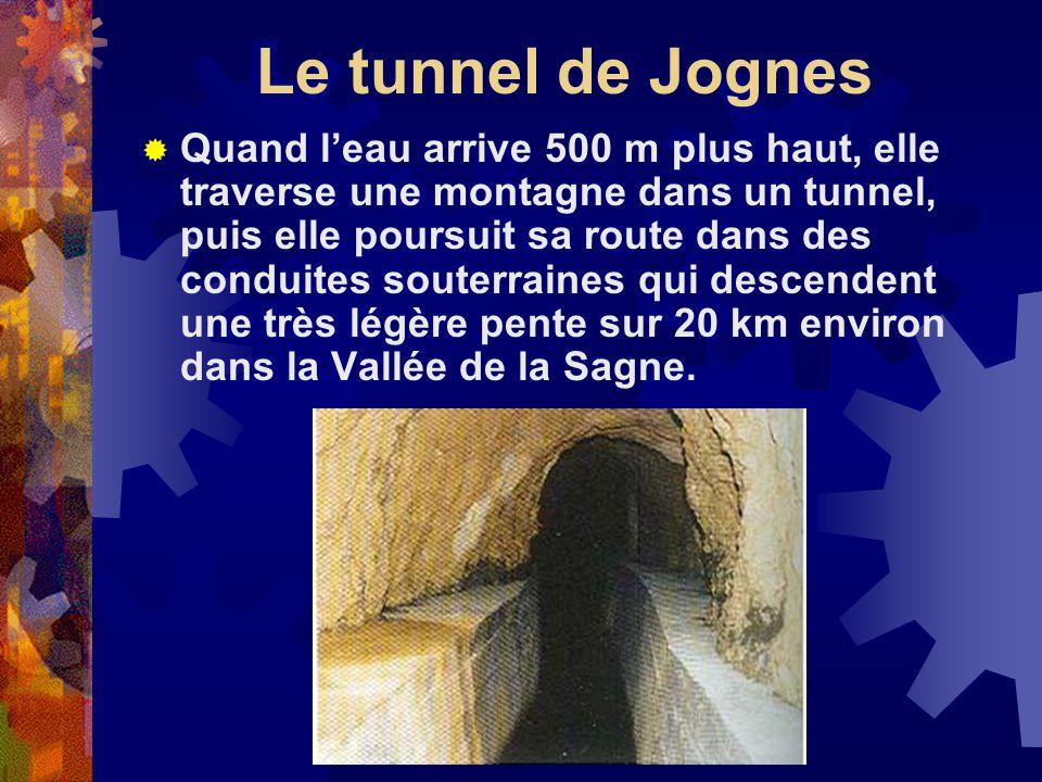 Le tunnel de Jognes Quand leau arrive 500 m plus haut, elle traverse une montagne dans un tunnel, puis elle poursuit sa route dans des conduites souterraines qui descendent une très légère pente sur 20 km environ dans la Vallée de la Sagne.