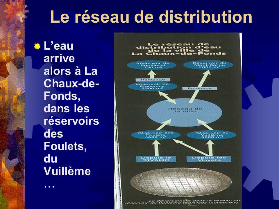 Le réseau de distribution Leau arrive alors à La Chaux-de- Fonds, dans les réservoirs des Foulets, du Vuillème …