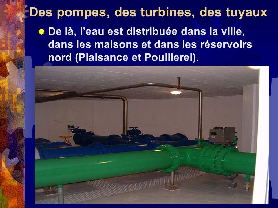 Des pompes, des turbines, des tuyaux De là, leau est distribuée dans la ville, dans les maisons et dans les réservoirs nord (Plaisance et Pouillerel).