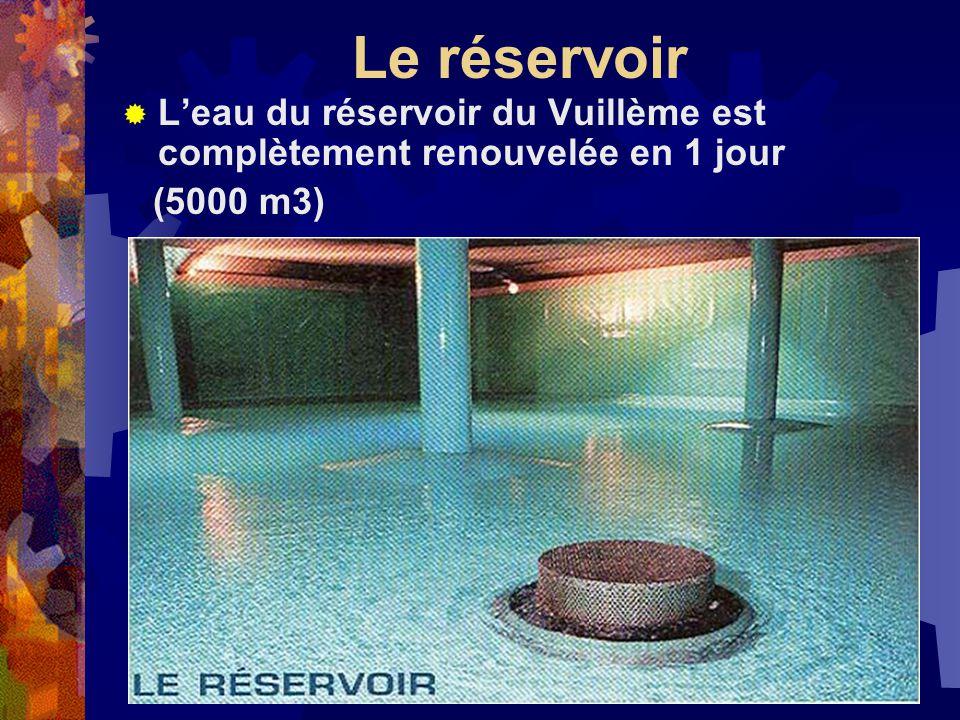 Le réservoir Leau du réservoir du Vuillème est complètement renouvelée en 1 jour (5000 m3)