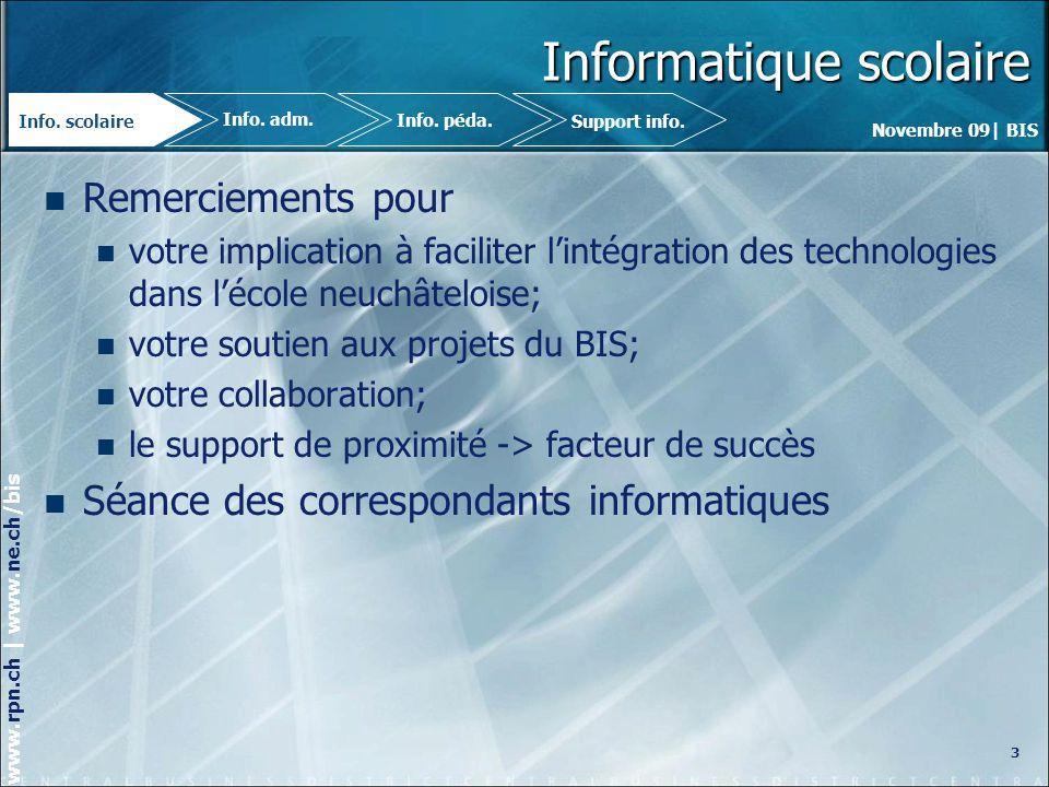Novembre 09| BIS www.rpn.ch | www.ne.ch/bis Rappel des procédures Problèmes rencontrés au niveau du site RPN et des logiciels pierre.mayer@rpn.ch – claude-alain.rudolf@rpn.ch 032 889 79 14 – 079 432 10 02 pierre.mayer@rpn.chclaude-alain.rudolf@rpn.ch Problèmes rencontrés au niveau de CLOEE serge.rosse@rpn.ch – 032 889 89 07 serge.rosse@rpn.ch Suggestions damélioration au niveau pédagogique et technique.